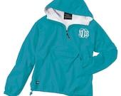 Lined Windbreaker Pullover 1/4 Zip Jacket ~ Hooded Rain Jacket ~ Lightly Lined ~ Monogrammed