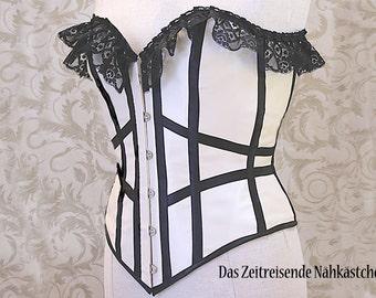 Overbust-corset, corste, Gothic, Burlesque, Steampunk - unique item!