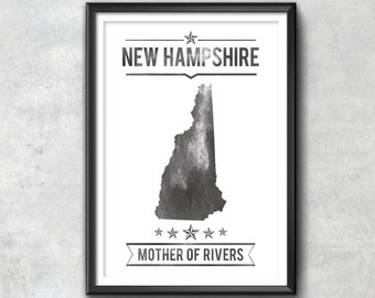 NEW HAMPSHIRE State Typography Print, Typography Poster, New Hampshire Poster, New Hampshire Art, New Hampshire Gift, New Hampshire Decor