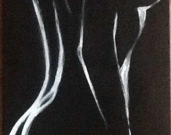 Abstract painting/Nude female/nu Féminin / acrylic on canvas black / arts