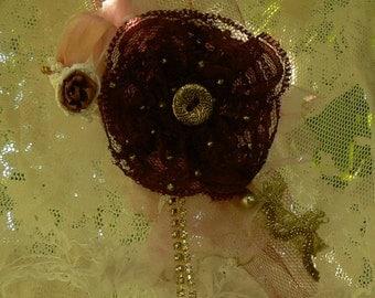Burgundy lace brooch