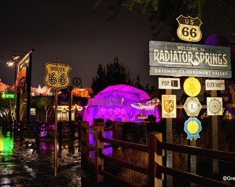 Disney California Adventure Cars Land Welcome to Radiator Springs, Metallic Paper  / Metal Print