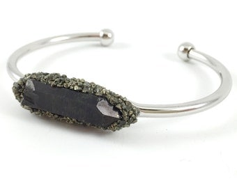 Raw Stone Bracelet, Crystal Quartz & Pyrite Cuff, Silver, Stone, Blue, Purple, Black Gemstone, Nugget, Minimalist, Boho, Edgy, Birthday Gift
