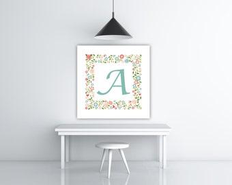 Custom Floral Letter, Nursery Letter Art, 8x8 Print Custom Nursery Art, Alphabet Letters, Letter Wall Art, INSTANT DOWNLOAD