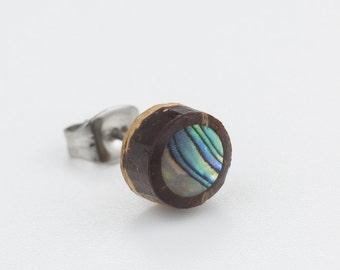 Tribal coconut shell and Abalone earring. abalone earrings. stud earrings. earring studs. studs.wood earrings.boho earrings