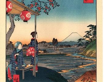 """Woodblock print, Japanese Ukiyoe, Hiroshige, """"Fuji-view Teahouse at Zôshigaya"""", Thirty-six Views of Mount Fuji ."""