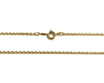 """14K Solid Yellow Gold Chain - 16.5"""" long - 1.57mm Cable 14K Yellow Gold Chain"""