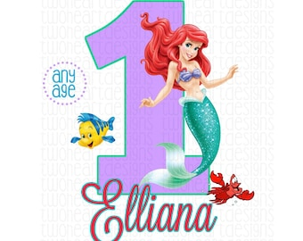 Personalized Ariel Any Age Any Name Iron On - Emailed - You Print