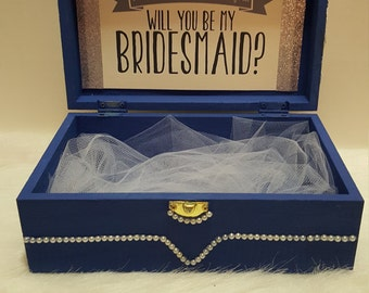 Blue Will you be my bridesmaid box,Will you be my bridesmaid,Will you be my Maid of honor,Will you be my maid matron of honor Box Card Gift