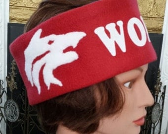 For the Love of Wolves - Head-Ear Warmer in Two Color Fleece (Blue/Burgundy or Burgundy/Blue)