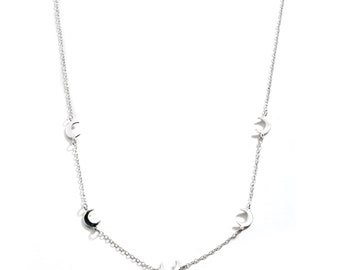 5 Moon Link Necklace / Sterling Silver Necklace / Dainty & Delicate Layer Necklace