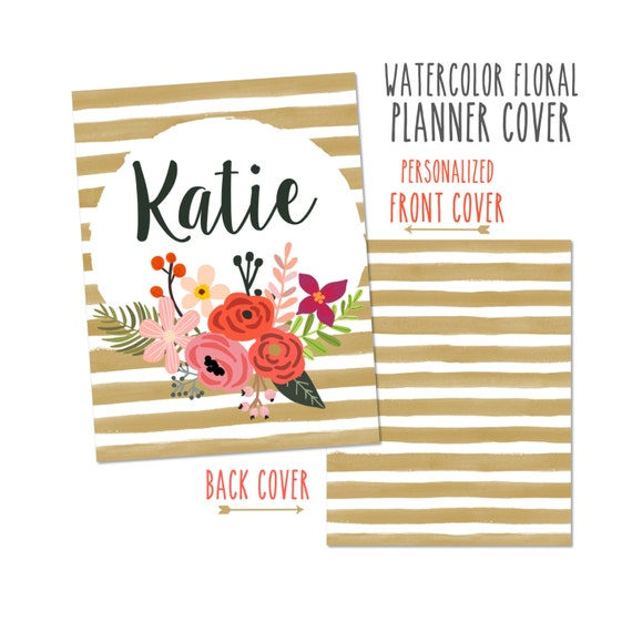 Personalized Planner Cover Watercolor Floral  -Choose from Cover only or Cover Set - Many Sizes Available!