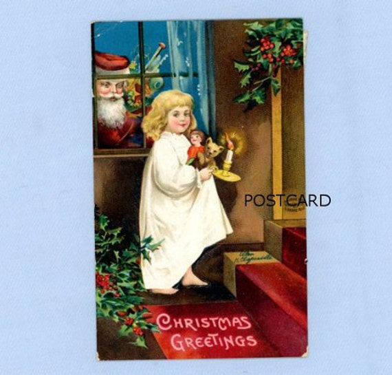 Christmas Postcard, Santa Peeking in Window, Clapsaddle Illustration, 1909