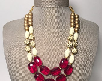 Red Quartz and Gold Statement Necklace