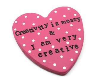 Personalised heart magnet - fun quote magnet - clay keepsake - craft room decor - clay decoration - fun gift - gift for her