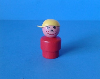 "Vintage Fisher Price Little People "" #663 Play Family Freckle Hat Boy WOOD "" 1970's HTF RARE"