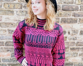 Vintage Tribal Print Sweater // 90's Magenta and Black Tribal Print Sweater