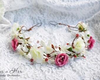 wedding hair crown head wreath boho hair accessories bridal crown floral headband wedding flower crown bridal flower crown floral Boho crown