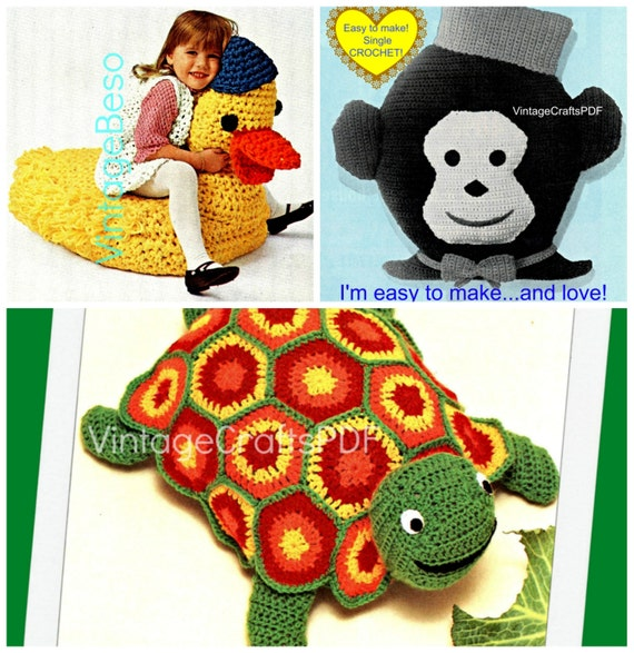 3 Crochet PATTERNs Vintage Duck tv Chair Turtle by VintageBeso