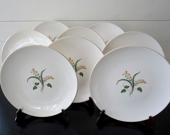 Set of 8 Forsythia Plates - c.1950's Knowles Pottery Co., Mid Century, Vintage Dinner Plates, White, Yellow, Green, with Gold Rim
