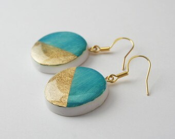 Turquoise Blue Color Block Circle Earring, Modern Nickel free Statement earrings, Geometric Teal Earrings, Painted Jewelry