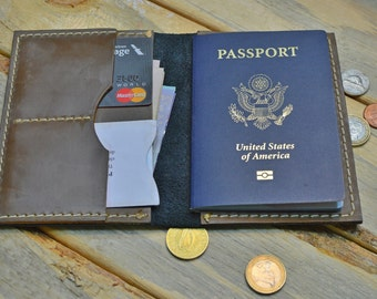 Leather Passport Wallet - Black leather - Brown leather - Two Tone Leather - Monogram - Handmade - Pen Holder - Rustic - Fast Shipping