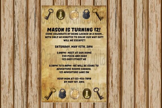 Escape The Room Birthday Invitation- Adventure Room Birthday ...