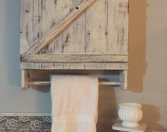 Bathroom Cabinet,Reclaimed Wood Shelves,Bathroom Organization,Towel Rack With Shelf,Bathroom Shelf,Farmhouse Bathroom,Cottage Chic,Country