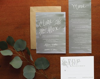 Gray Watercolor Floral Wedding Invitation