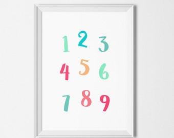 Printable numbers illustration, Educational printables, Colorful numbers printable, Printable classroom decor , Educational wall art