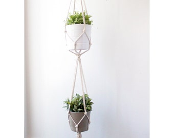 Double Macrame Plant Hanger, Hanging Planter, 100% Cotton