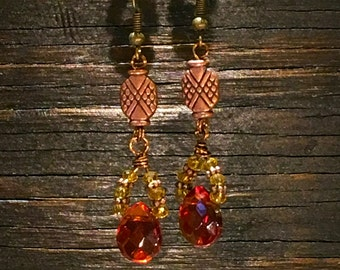 Copper & Crystal Beaded Earrings