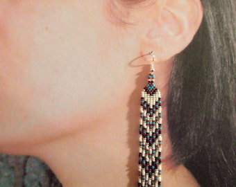 Long Narrow Earrings, Handmade Seed Bead Earrings, Reddish Brown, Turquoise Blue, Bone, Silver and Black Native American Inspired Earrings