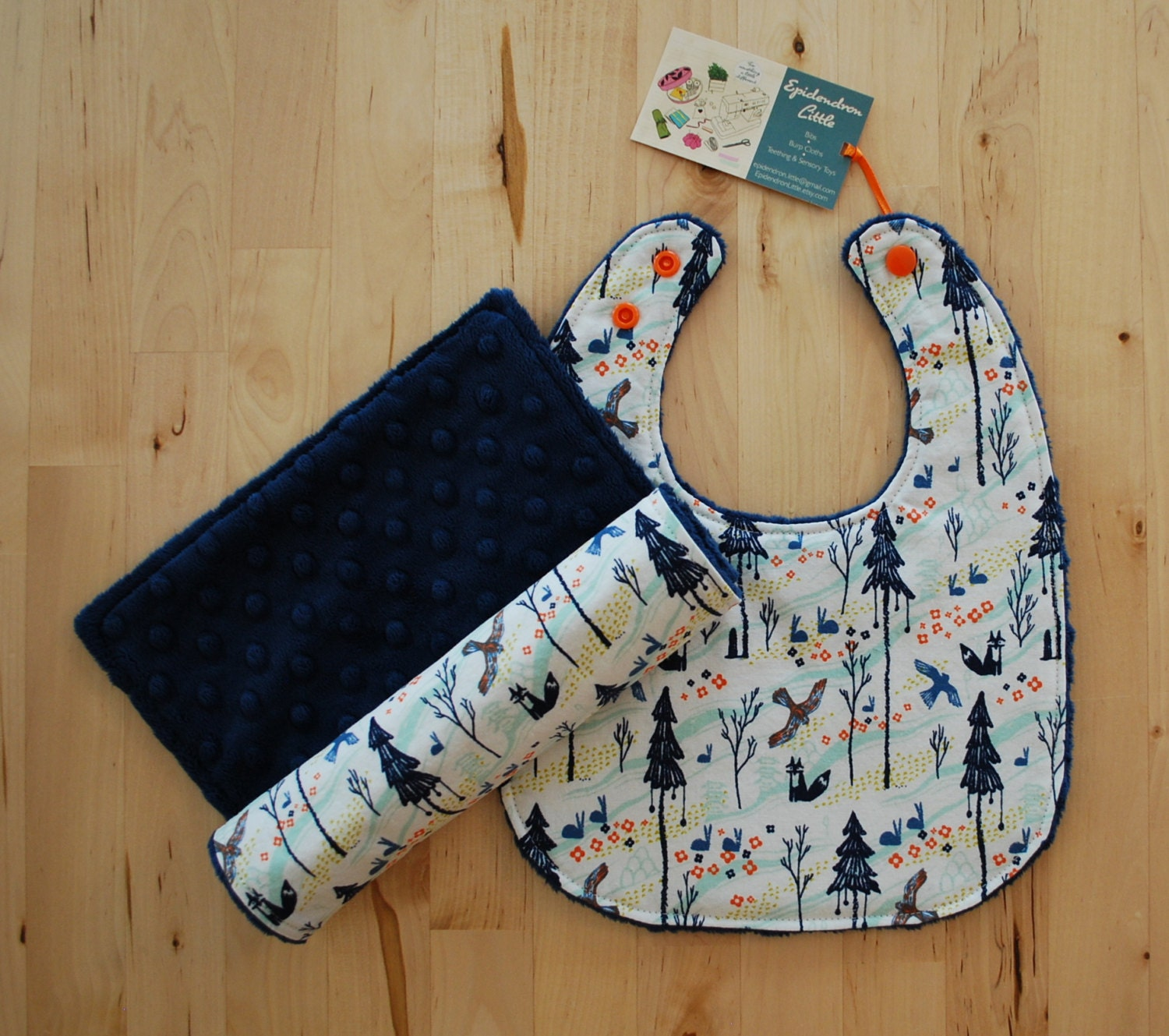 Baby Gifts From Japan : Baby boy gift set japanese woodland cotton minky bib and