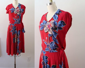 1980s Set / Hibiscus Punch Dress / Vintage 70s 80s Hawaiian Two Piece Blouse and Skirt / XS