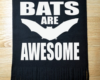 Bats are awesome scarf - bats - scarf - black scarf - winter scarf