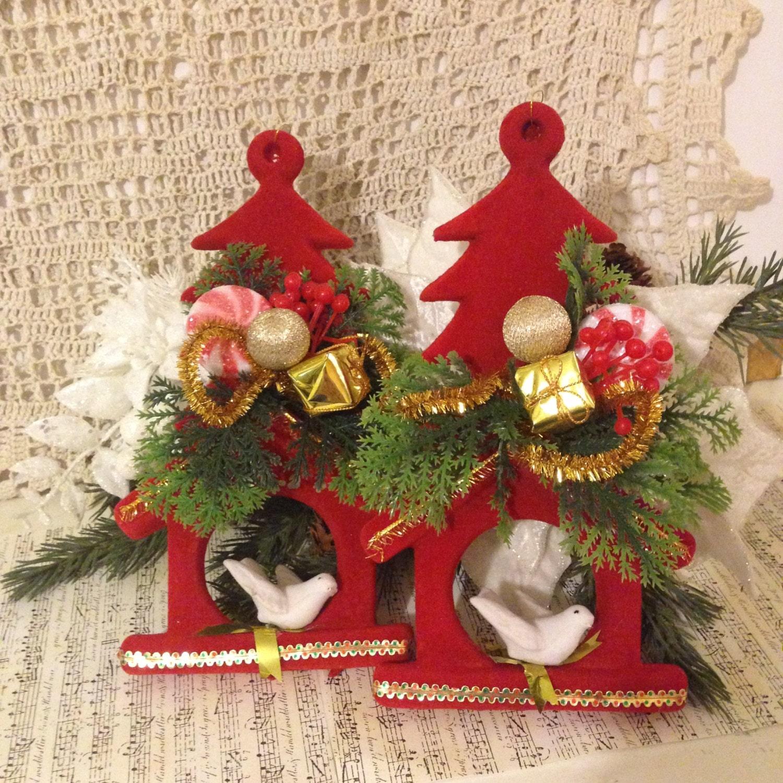 1950s flocked christmas ornament vintage christmas. Black Bedroom Furniture Sets. Home Design Ideas