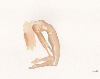 Ustrasana | Camel pose | Yoga | Watercolour Painting | Giclee Print|Brown Earth
