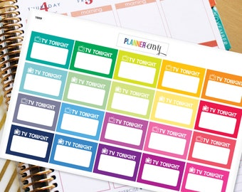 TV Show Planner Stickers Erin Condren Life Planner (ECLP) - 20 On TV Tonight (#1009)