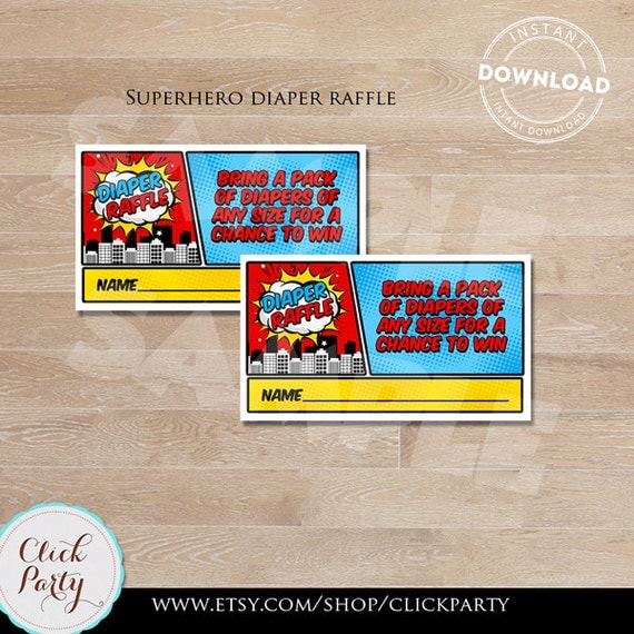 Superhero Diaper Raffle Tickets Baby Shower Games Super Hero