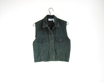 90s Grunge Vest, Vintage Cotton Vest, Forest Green, Hunter Green, Fitted Vest, Grunge Jean Vest, 1990s 90, Grunge Clothing, XS, Extra Small
