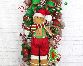 Gingerbread Wreath, Gingerbread Door Swag, Whimsical Christmas Wreath, Christmas Wreath, Christmas Swag, Holiday Swag, Gingerbread Decor