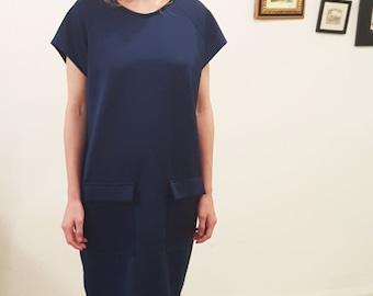 Dark Blue Dress, Dress With Pockets, Midnight Blue Dress, Dress With Pockets