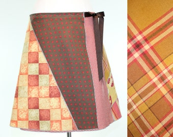 Upcycled Plaid Knee Length Wrap Skirt- Red Mid Length Skirt- Summer Hen Skirt- Plaid Chicken Wrap Skirt- Repurposed Clothing- Charley Girl