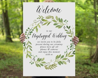 Printable Unplugged Wedding Sign, Watercolor Spring Green Wreath, DIY Printable Sign, Wedding Signage