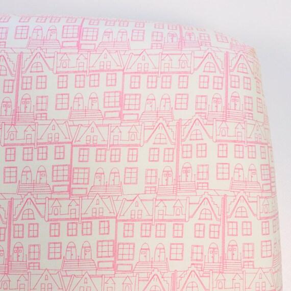 Crib Sheet >> Little Town in Pink >> MADE-to-ORDER city baby bedding, fairytale toddler sheet, modern bassinet sheet, mini crib sheet MIX