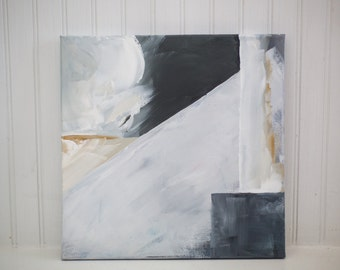"""Gray & Yellow Abstract Painting (Acrylic on Canvas, 12x12"""")"""