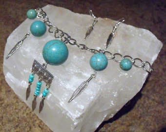 Pocahontas Inspired Turquoise Semi-Precious Stone Beaded Choker Necklace With Feathers and Matching Feather Earrings Set