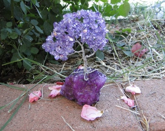 Violet Aura Borealis Tree Desk Decor OOAK