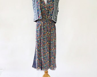 Vintage Diane Freis Original Floral Print Sundress with Matching Cardigan Blouse